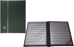LIGHTHOUSE -  GREEN LEATHER 16-SHEET STOCKBOOK (32 BLACK PAGES)
