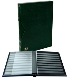 LIGHTHOUSE -  GREEN LEATHER 16-SHEET STOCKBOOK WITH SLIPCASE (32 BLACK PAGES)