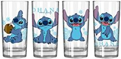 LILO AND STITCH -  STITCH GLASSWARE SET OF 4 - BLUE FLORAL 10 OZ EACH