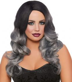 LONG WAVY OMBRÉ WIG - BLACK/GRAY (ADULT)