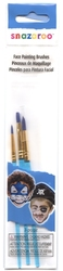 MAKEUP BRUSH -  3 BRUSH SET - FOR WATER BASE FACE PAINT - BLUE