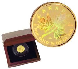 MAPLE LEAFS -  HOLOGRAPHIC MAPLE LEAF 1/4 OZ PURE GOLD -  2001 CANADIAN COINS