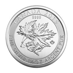 MAPLE LEAVES - 1 1/2 OUNCE FINE SILVER COIN -  2019 CANADIAN COINS