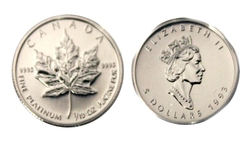 MAPLE LEAVES -  1/10 OUNCE FINE PLATINUM COIN