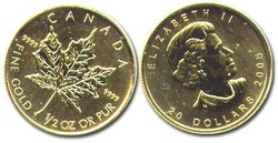MAPLE LEAVES -  1/2 OUNCE PURE GOLD COIN -  CANADIAN COINS