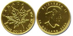 MAPLE LEAVES -  1 OUNCE PURE GOLD MAPLE LEAF -  CANADIAN COINS