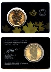 MAPLE LEAVES -  2015 1 OUNCE PURE GOLD MAPLE LEAF -  2015 CANADIAN COINS