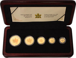 MAPLE LEAVES -  20TH ANNIVERSARY OF THE GOLD MAPLE LEAF -  1999 CANADIAN COINS