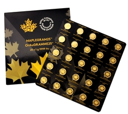 MAPLE LEAVES -  25 X 1 GRAM OF PURE GOLD -  CANADIAN COINS