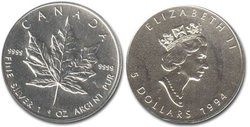 MAPLE LEAVES -  MAPLE LEAF - ONE OUNCE FINE SILVER COIN -  1994 CANADIAN COINS