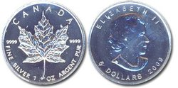 MAPLE LEAVES -  MAPLE LEAF - ONE OUNCE FINE SILVER COIN -  2009 CANADIAN COINS