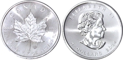 MAPLE LEAVES -  ONE OUNCE FINE SILVER COIN -  2014 CANADIAN COINS
