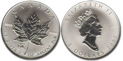 MAPLE LEAVES WITH PRIVY MARKS -  CHINESE LUNAR CALENDER : DRAGON -  2000 CANADIAN COINS 03