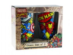 MARVEL -  SET OF 2 GLASS PINTS OF CAPTAIN AMERICA AND IRON MAN