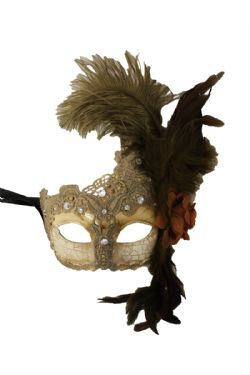 MASQUERADE MASK -  ANTIQUE MASK WITH FEATHER - GREY
