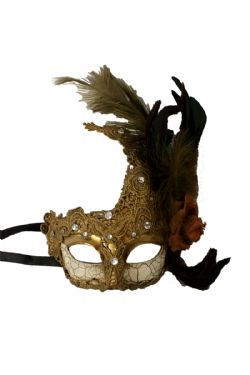 MASQUERADE MASK -  ANTIQUE MASK WITH FEATHERS - BRONZE/DARK BROWN