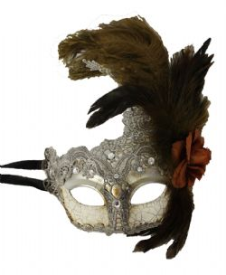 MASQUERADE MASK -  ANTIQUE MASK WITH FEATHERS - SILVER/DARK BROWN