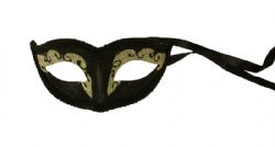 MASQUERADE MASK -  BLACK BEAUTY MASK - SHINY, GREY