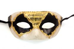 MASQUERADE MASK -  CLASSIC MUSIC PAPER MACHE MASK WITH MUSIC NOTES - BLACK AND GOLD