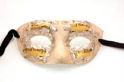 MASQUERADE MASK -  CLASSIC MUSIC PAPER MACHE MASK WITH MUSIC NOTES - YELLOW AND SILVER