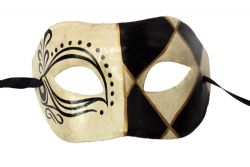 MASQUERADE MASK -  DELIRIOUS PAPER MACHE MASK - BLACK AND WHITE