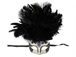 MASQUERADE MASK -  EYE MASK WITH FEATHERS - BLACK/SILVER