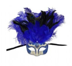 MASQUERADE MASK -  EYE MASK WITH FEATHERS - BLUE/SILVER