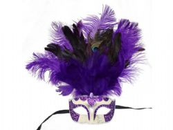 MASQUERADE MASK -  EYE MASK WITH FEATHERS - PURPLE/SILVER