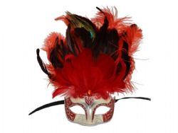 MASQUERADE MASK -  EYE MASK WITH FEATHERS - RED/SILVER