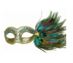 MASQUERADE MASK -  EYE MASK WITH PEACOCK FEATHERS - GOLD/SILVER