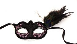 MASQUERADE MASK -  HOLLYWOOD DREAMING EYE MASK WITH FEATHERS - BLACK AND PINK
