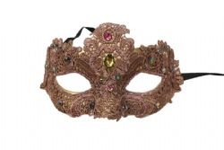 MASQUERADE MASK -  MASK WITH GEMS - PINK
