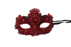 MASQUERADE MASK -  MASK WITH GEMS - RED