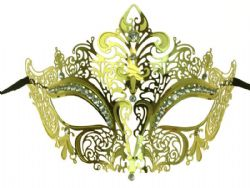 MASQUERADE MASK -  METAL LACE LOOK EYE MASK WITH RHINESTONES - GOLD