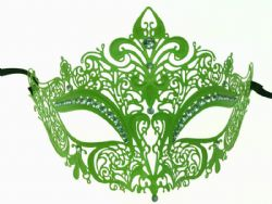 MASQUERADE MASK -  METAL LACE LOOK EYE MASK WITH RHINESTONES - GREEN