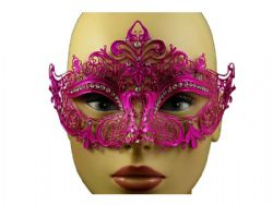MASQUERADE MASK -  METAL LACE LOOK EYE MASK WITH RHINESTONES - HOT PINK
