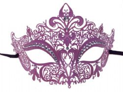 MASQUERADE MASK -  METAL LACE LOOK EYE MASK WITH RHINESTONES - PINK