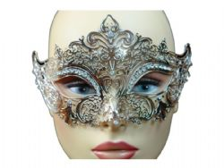 MASQUERADE MASK -  METAL LACE LOOK EYE MASK WITH RHINESTONES - SILVER