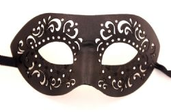 MASQUERADE MASK -  MICHELLE LEATHER EYE MASK - BLACK