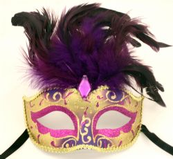 MASQUERADE MASK -  VENEZIA EYE MASK - PURPLE AND GOLD WITH FEATHERS