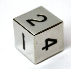 METAL DICE -  1D6 15MM SILVER WITH BLACK NUMBERS