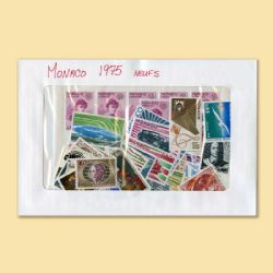 MONACO -  1975 COMPLETE YEAR SET, NEW STAMPS