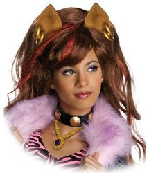 MONSTER HIGH -  CLAWDEEN WOLF WIG - BROWN WHIT RED HIGHLIGHTS (CHILD)