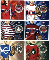 MONTREAL CANADIENS -  100TH ANNIVERSARY OF THE MONTREAL CANADIENS - 6 COLLECTOR CARDS -  2009 CANADIAN COINS