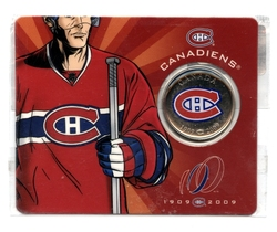 MONTREAL CANADIENS -  100TH ANNIVERSARY OF THE MONTREAL CANADIENS - COLLECTOR CARD -  2009 CANADIAN COINS 01