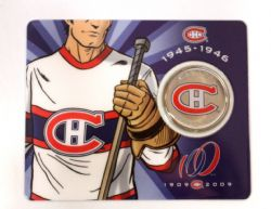 MONTREAL CANADIENS -  MONTREAL CANADIENS CENTENNIAL COLLECTOR CARDS - MONTREAL CANADIENS ROAD JERSEY (1945-1946) -  2009 CANADIAN COINS 02