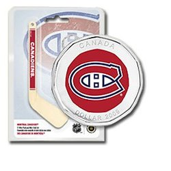 MONTREAL CANADIENS -  MONTREAL CANADIENS LOGO IN A HOCKEY MINI-PUCK AND MINI-STICK -  2009 CANADIAN COINS