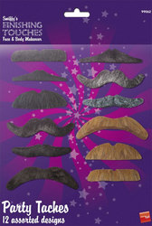 MOUSTACHES AND BEARDS -  12 ASSORTED MOUSTACHES