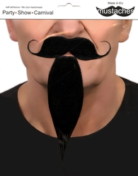 MOUSTACHES AND BEARDS -  CURLY MUSTACHE AND CHIN HAIR - BLACK