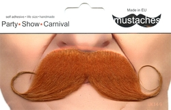 MOUSTACHES AND BEARDS -  CURLY MUSTACHE - RED
